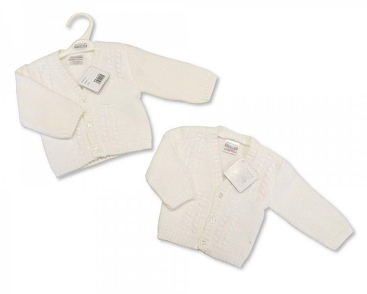 Knitted Baby Boys Cardigan - White - NB/6M - (BW-10-560)