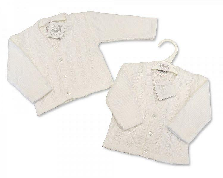 Knitted Baby Boys Cardigan - White - NB/6M - (BW-10-561)