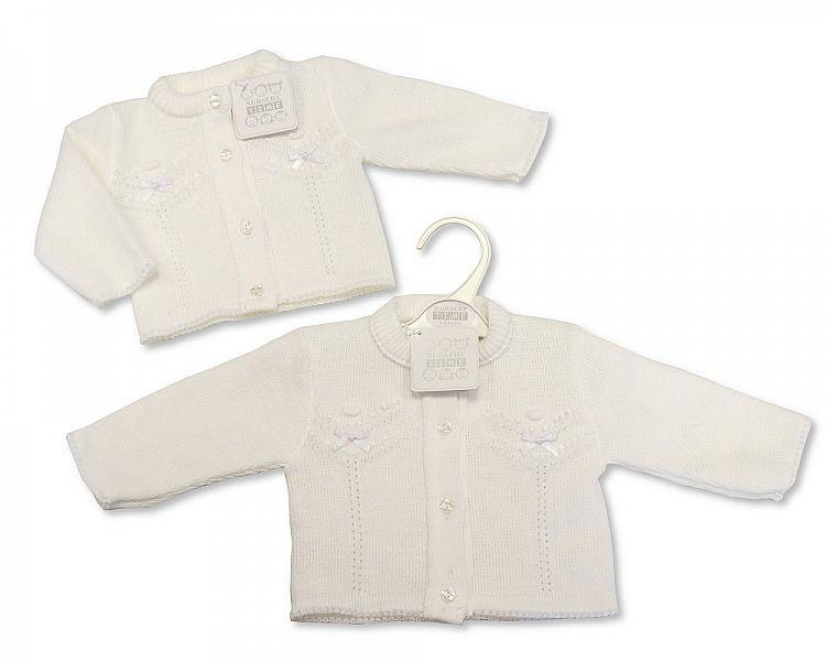 Knitted Baby Girls Cardigan - White - 6/24M - (BW-10-562a) - Kidswholesale.co.uk