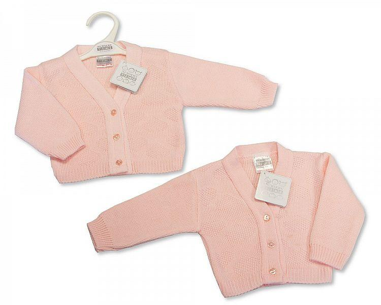 Knitted Baby Girls Cardigan - Pink - NB/6M - (BW-10-563) - Kidswholesale.co.uk