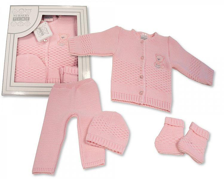 Baby Girls Boxed 4 pcs Knitted Set ( 0-3 Months) Bw-10-800p