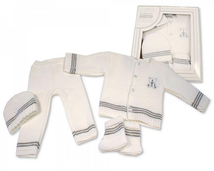 Baby Boxed 4 Pieces Knitted Set ( 0-3 Months) Bw-10-801