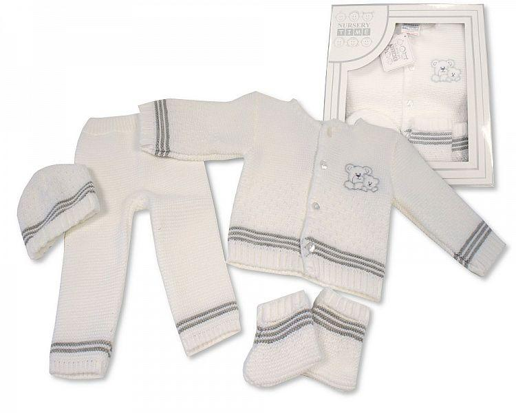Baby Boxed 4 pcs Knitted Set - Grey ( 0-3 Months) Bw-10-802g