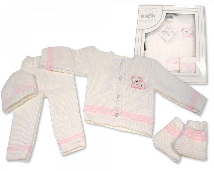 Baby Boxed 4 pcs Knitted Set - Pink ( 0-3 Months) Bw-10-802p
