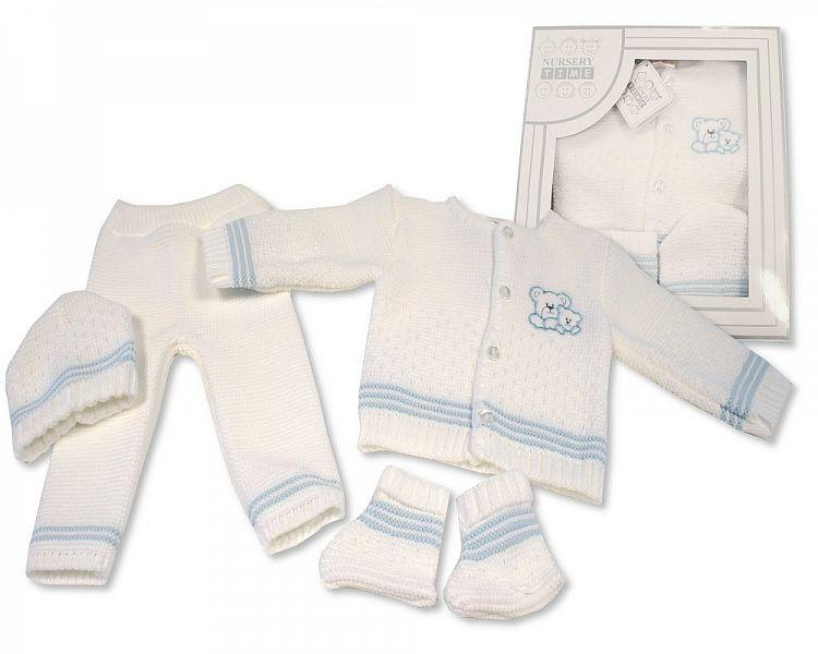 Baby Boxed 4 pcs Knitted Set - Sky ( 0-3 Months) Bw-10-802s