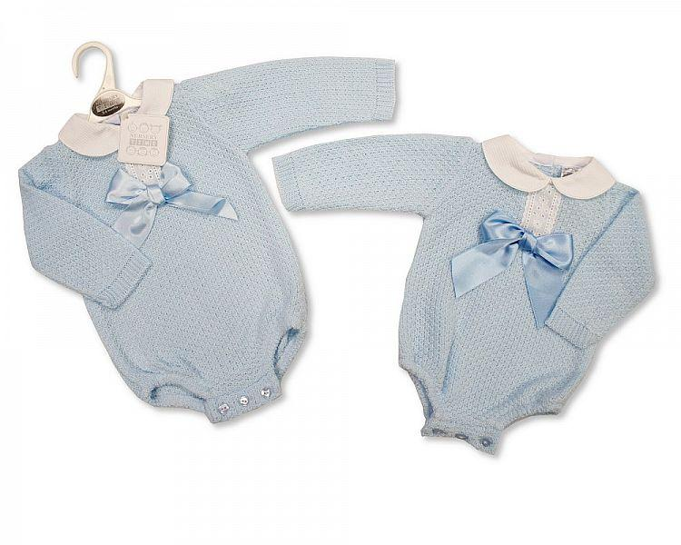 Knitted Baby Boys Romper with Bow (0-9 Months) Bw-10-820