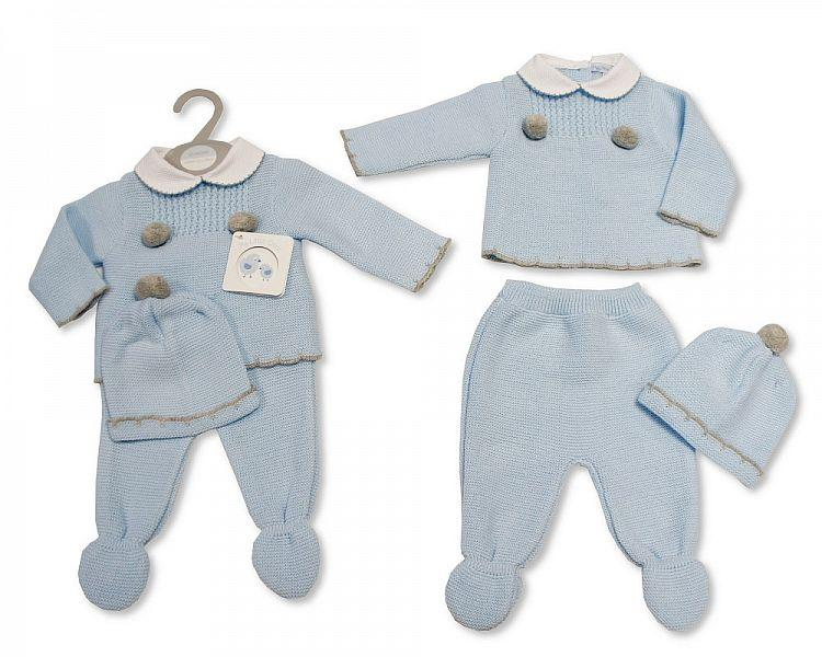Knitted Baby Boys 3 pcs Set with Pom-Poms - 922 (0-9 Months) Bw-10-922
