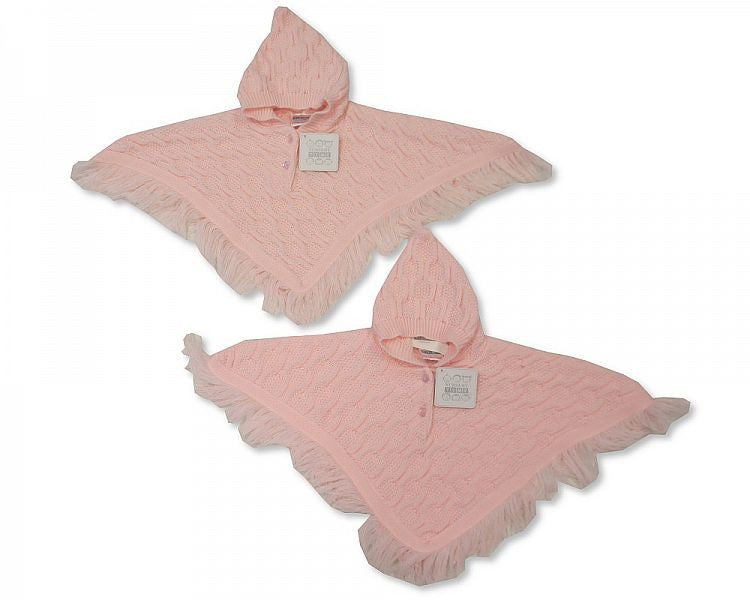 Baby Knitted Pink Poncho - 6-23 Months