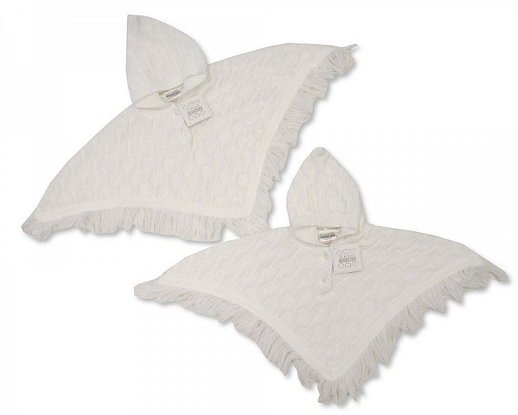 Baby Knitted White Poncho - 0-6 Months