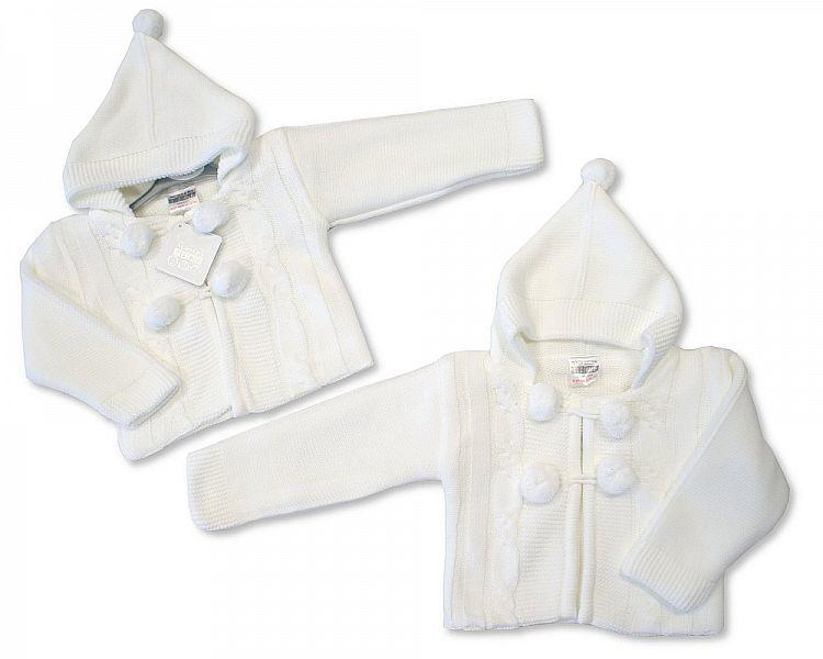 Knitted Baby Pram Coat - White - NB/6M - (BW-1015-621W) - Kidswholesale.co.uk