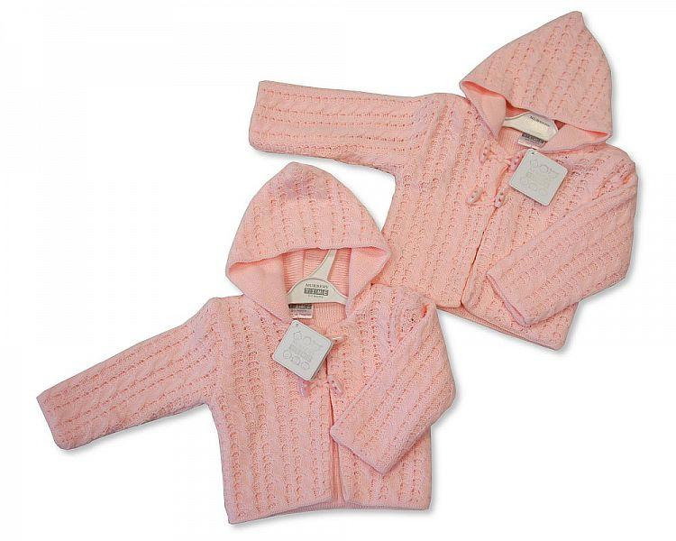Knitted Baby Girls Pram Coat - Pink (BW-1016-627)