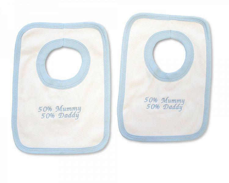 Baby Boys Cotton Pop-Over Bib - 50% Mummy, 50% Daddy - (BW-104-505-CTN)