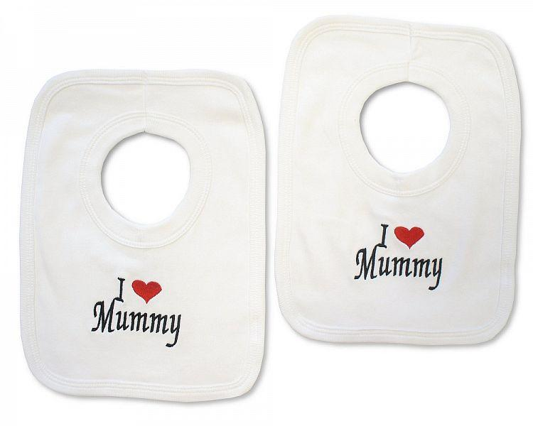 Baby Cotton Pop-Over Bib - I Love Mummy - (BW-104-510-CTN)