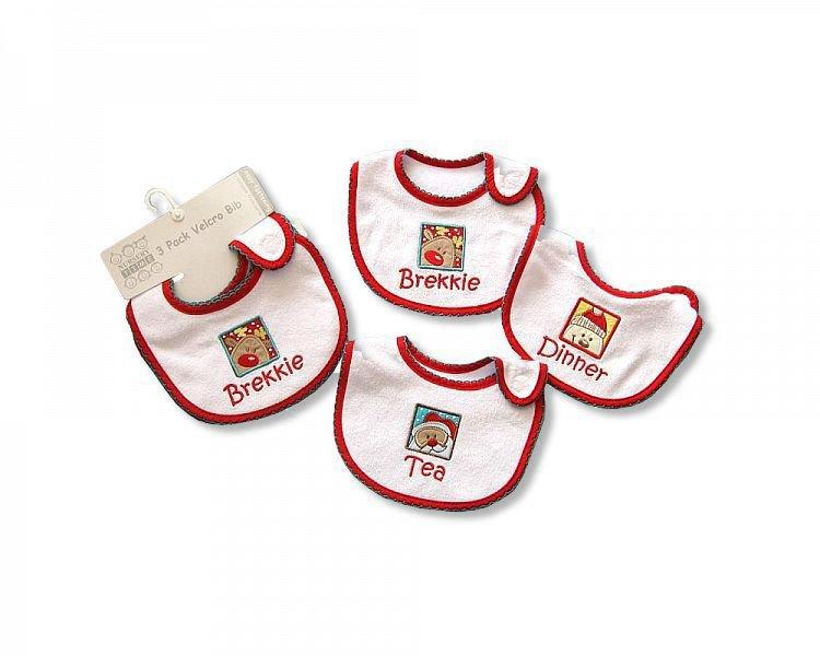 Baby Christmas Bibs -Brekkie-Dinner-Tea - ([BW-104-622)