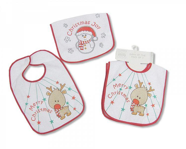 Baby X-Mas Bibs with PEVA Back - Pack of 2 - (BW-104-647)