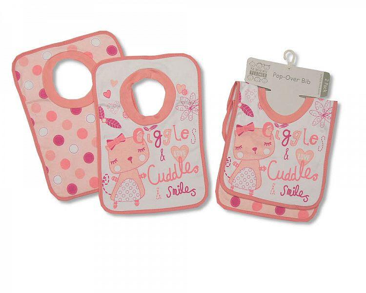 Baby Cotton Pop-Over Bibs - Girls - Packs of 2 Bw 104-681