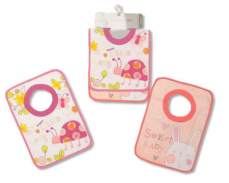 Baby Pop-Over Bibs - Terry/ PEVA Back - Girls - Packs of 2 Bw 104-683