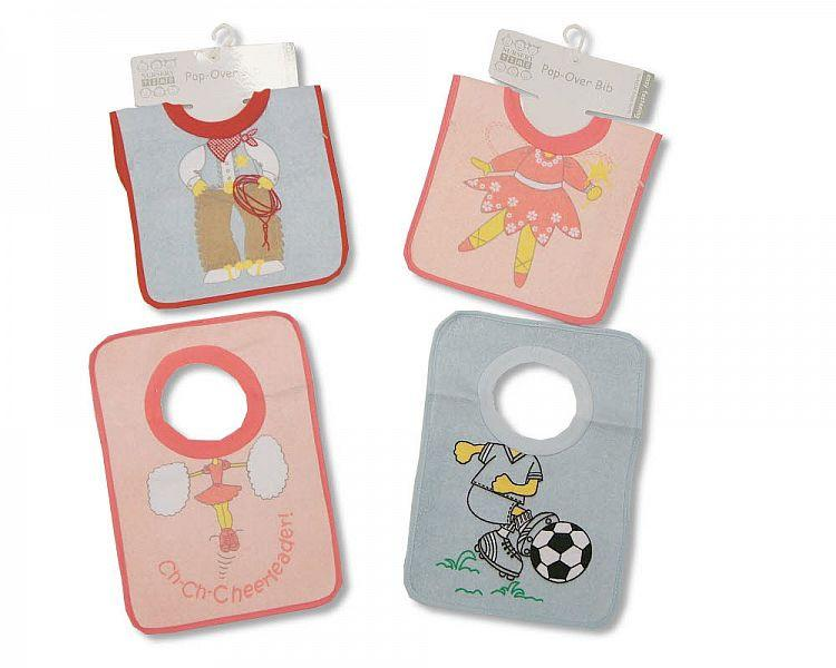 Baby Pop-Over Bibs - Terry/ PEVA Back - Kidswholesale.co.uk
