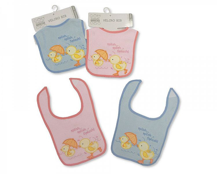 Baby Velcro Bibs with Terry Back - Duck