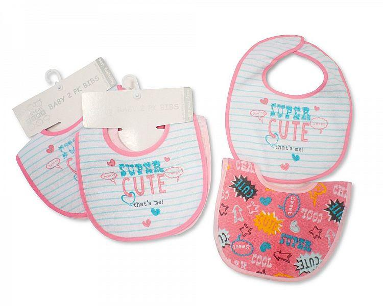 Baby Bibs Girls with PEVA Back - 2 Pack