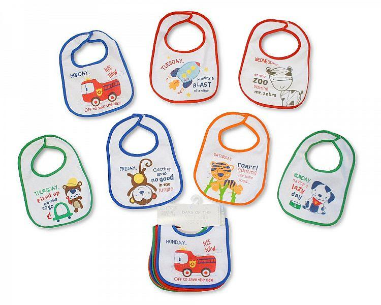 Pack of 7 Baby Days of the Week Bibs