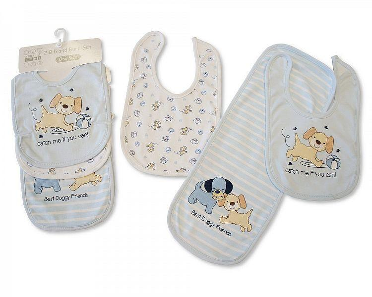 2 Bibs and Burp Cloth Set - Boys