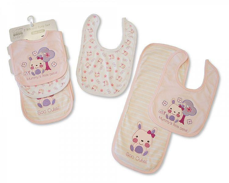 2 Bibs and Burp Cloth Set - Girls - Kidswholesale.co.uk
