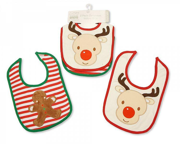 Baby Christmas Cotton Bibs 2 Pack - Reindeer [BW-104-742]