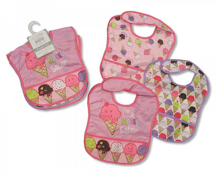 Baby PEVA Bibs Girls - Packs of 3