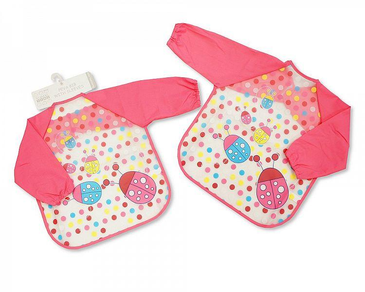 Baby Girls PEVA Bibs with Sleeves - Ladybirds [BW-104-817G]