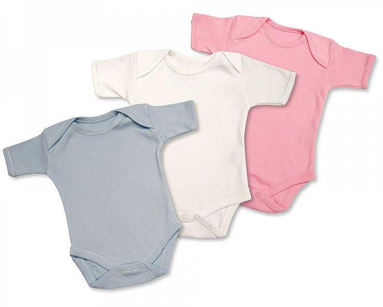 Plain Short Sleeved Body Vests - Pink, Blue, White (BW-1109-0301)