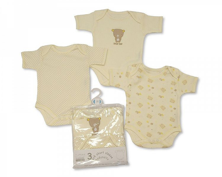3 Pack Short Sleeves Env Neck Cotton Bodysuit