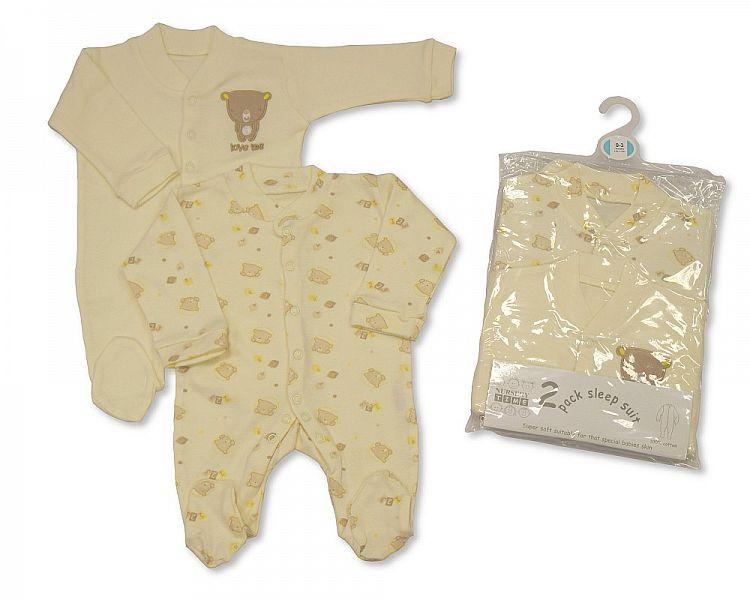 2-Pack Sleepsuit - Cream Bw-1109-0603 - Kidswholesale.co.uk