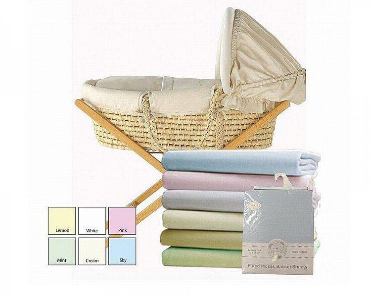 Moses Basket Cotton Sheets - Fitted - 2 Pack  (BW-111-230) (bracket not included) - Kidswholesale.co.uk