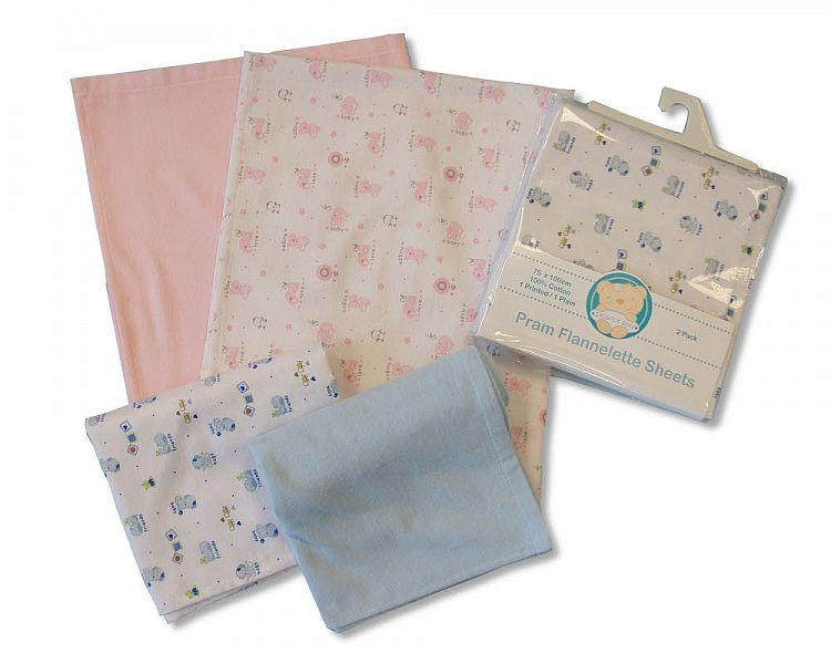 Flannelette Sheets - 1 Plain 1 Printed - Cot Bed-523