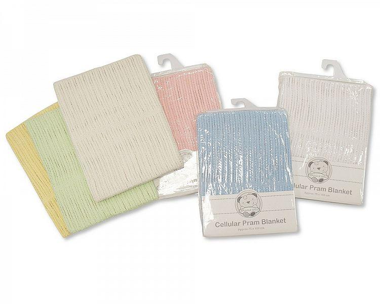 Cotton Cellular Pram Blanket-215 - Kidswholesale.co.uk