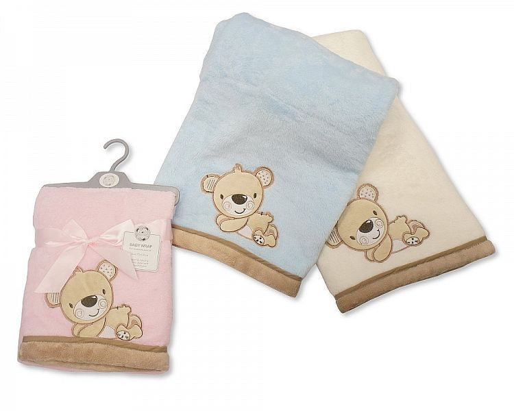 Baby Fleece Wrap with Embroidery - Teddy
