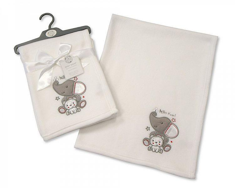 White Baby Wrap - Elephant (BW112-945) - Kidswholesale.co.uk