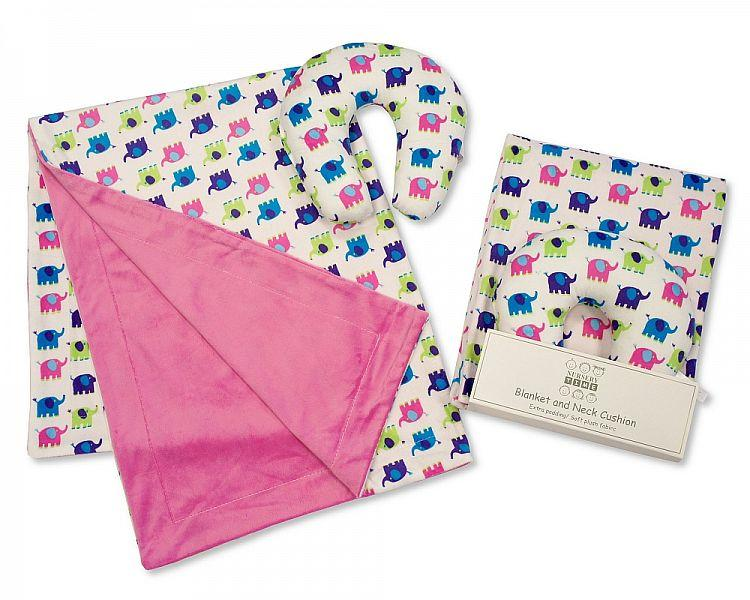 Baby Blanket and Neck Cushion Set - Girls