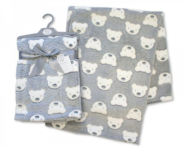 Printed Baby Wrap - Teddy - Grey - (BW-112-988G) - Kidswholesale.co.uk