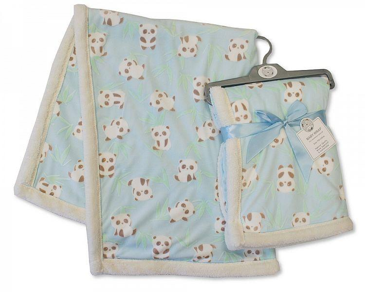 Printed Baby Wrap - Panda - Sky [BW-112-990S] - Kidswholesale.co.uk