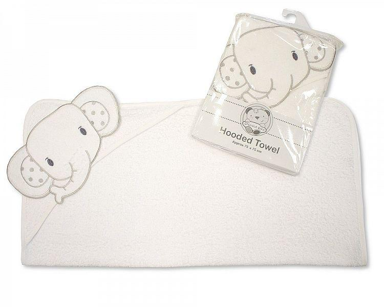 Baby Hooded Towel - Elephant - White/Grey