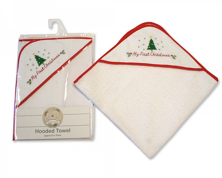 Baby Hooded Towel - My First Christma060z
