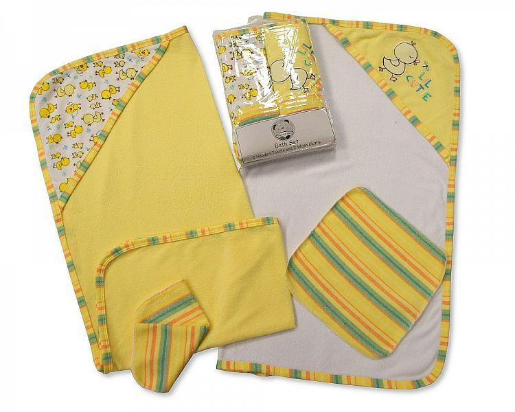 Baby  Hooded Towel and Wash Cloth Set (Bw-120-099L)