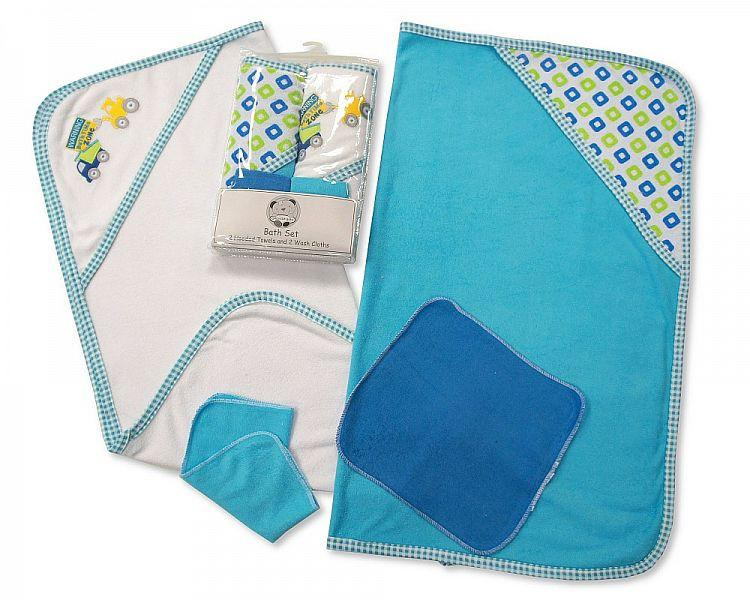 Baby Boys Hooded Towel and Wash Cloth Set (Bw-120-099s)