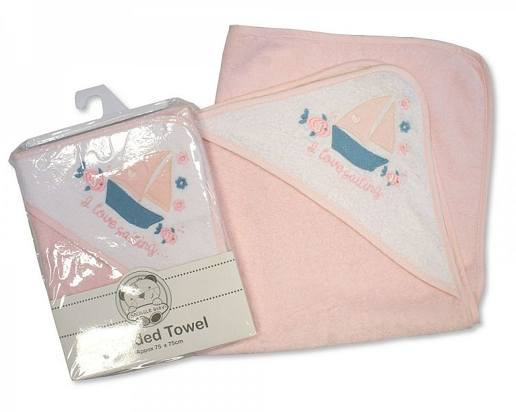 aby Girls Hooded Towel - I Love Sailing