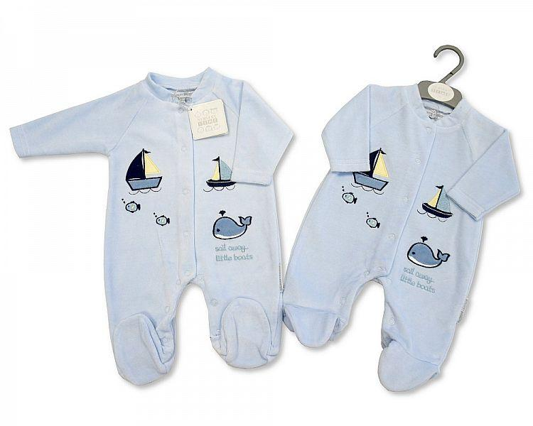 Baby Velour All in One - Little Boats - 0-9 Months
