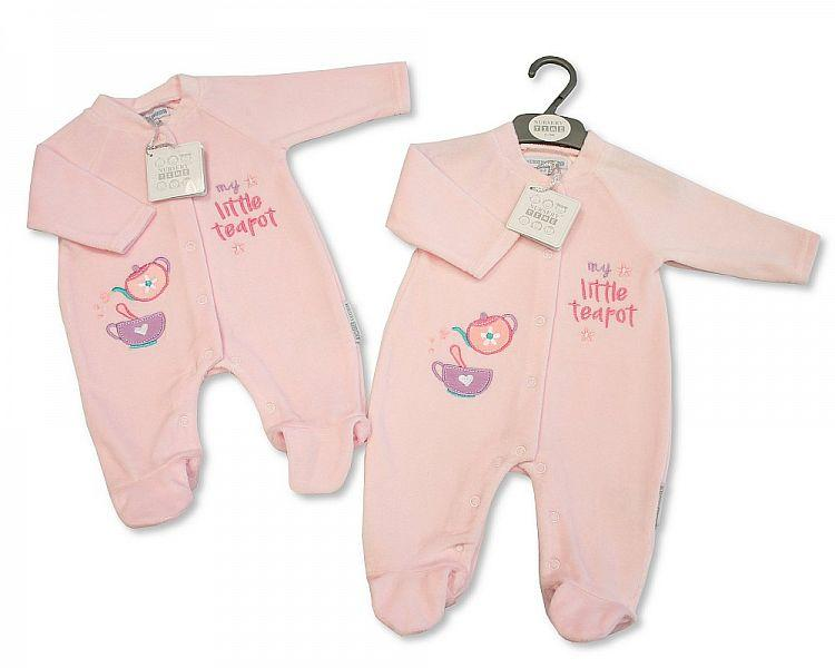 Baby Velour All in One - Little Teapot - 0-9 Months - Kidswholesale.co.uk