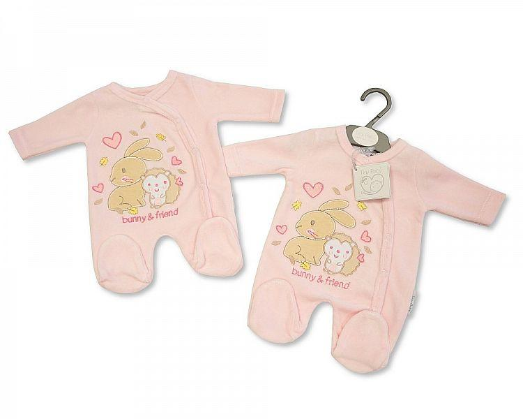 Tiny Baby Velour All in One - Bunny and Friend Bw-13-349tb - Kidswholesale.co.uk