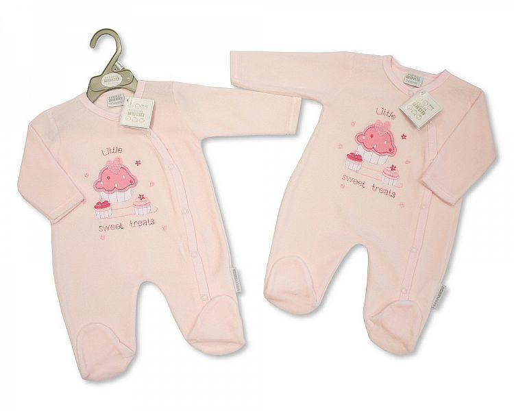 Baby Girls Velour All in One - Sweet Treats - Kidswholesale.co.uk